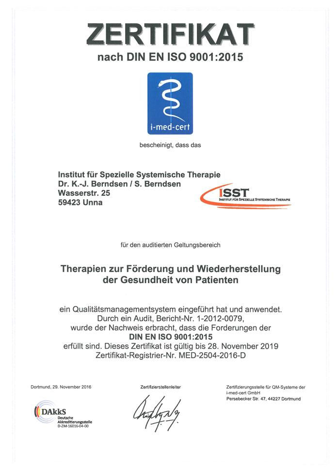ISO 9001:20015 Zertifikat